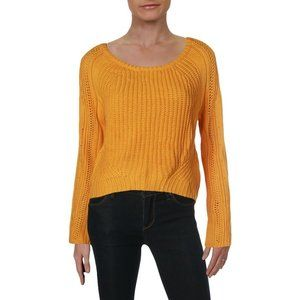 Freshman Juniors' Gold Cropped Open-Stitch Sweater